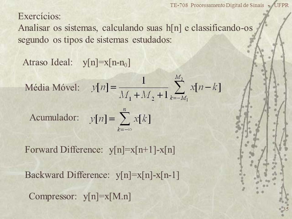 Analisar os sistemas, calculando suas h[n] e classificando-os
